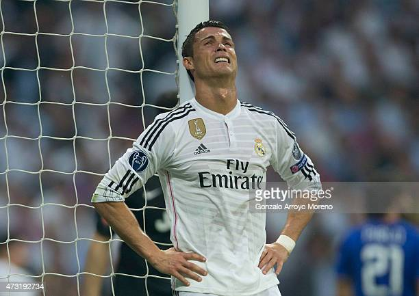 Cristiano Ronaldo of Real Madrid CF reacts defeated at the goal after his team has failed to score during the UEFA Champions League semifinal second...