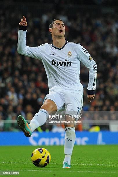 Cristiano Ronaldo of Real Madrid CF reacts defeated during the La Liga match between Real Madrid CF and Real Zaragoza at Estadio Santiago Bernabeu on...