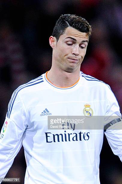 Cristiano Ronaldo of Real Madrid CF reacts dejected during the La Liga match between Athletic Club and real Madrid CF at San Mames Stadium on...