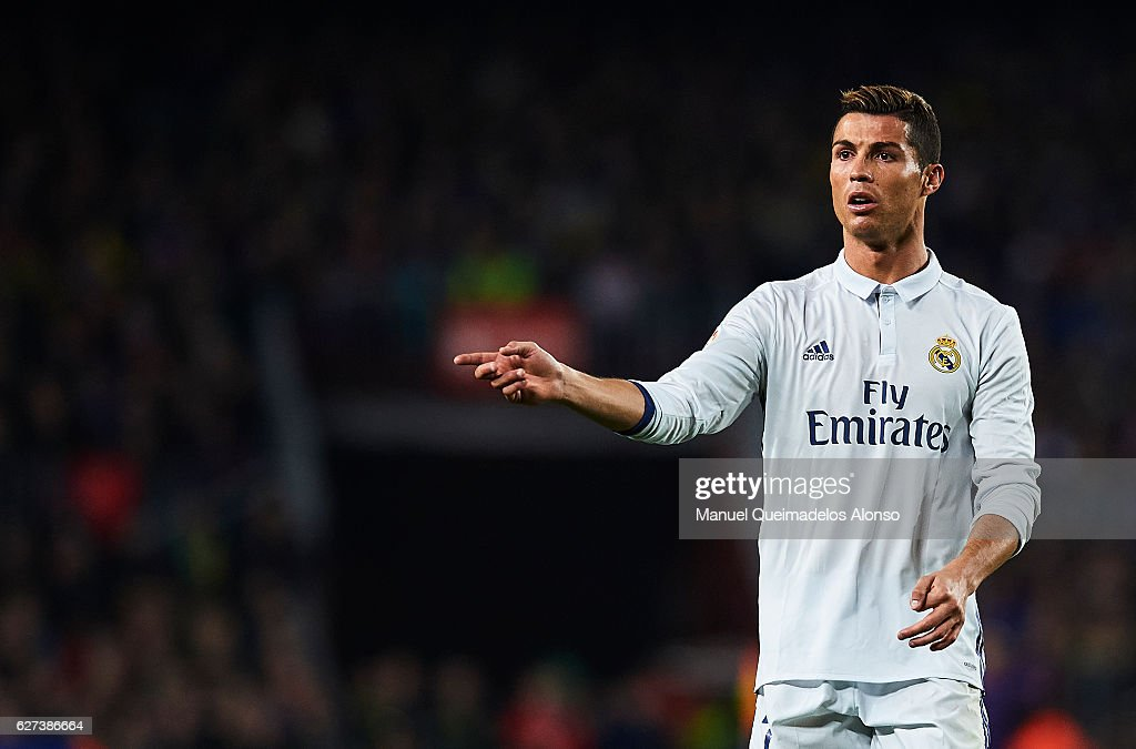 Cristiano Ronaldo of Real Madrid CF reacts during La Liga match between FC Barcelona and Real Madrid CF at Camp Nou Stadium on December 3 2016 in...