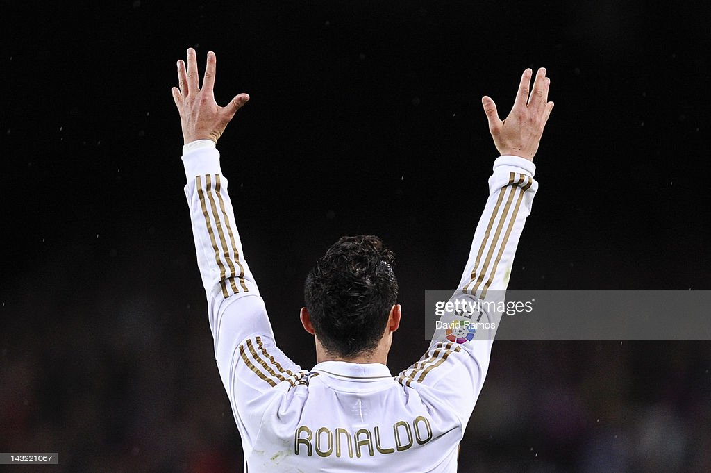Cristiano Ronaldo of Real Madrid CF reacts during the La Liga match between FC Barcelona and Real Madrid at Camp Nou on April 21, 2012 in Barcelona, Spain. Real Madrid CF won 1-2.
