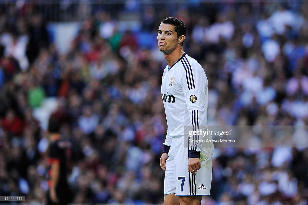 <a gi-track='captionPersonalityLinkClicked' href=/galleries/search?phrase=Cristiano+Ronaldo+-+Soccer+Player&family=editorial&specificpeople=162689 ng-click='$event.stopPropagation()'>Cristiano Ronaldo</a> of Real Madrid CF reacts during the La Liga match between Real Madrid CF and RC Deportivo La Coruna at Bernabeu on October 20, 2012 in Madrid, Spain.