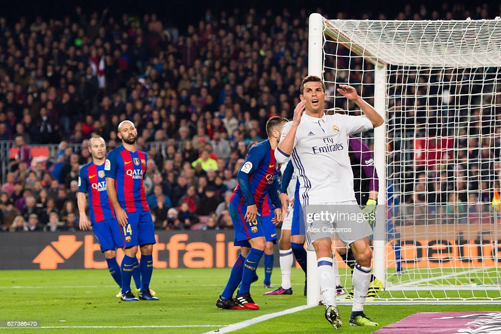 Cristiano Ronaldo of Real Madrid CF reacts during the La Liga match between FC Barcelona and Real Madrid CF at Camp Nou stadium on December 3 2016 in...