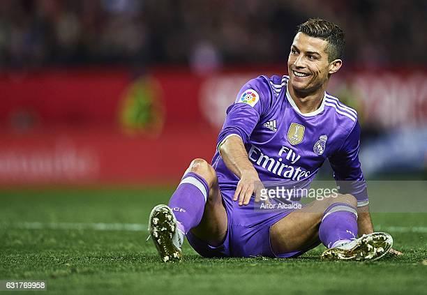 Cristiano Ronaldo of Real Madrid CF reacts during the La Liga match between Sevilla FC and Real Madrid CF at Estadio Ramon Sanchez Pizjuan on January...