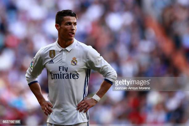 Cristiano Ronaldo of Real Madrid CF reacts during the La Liga match between Real Madrid CF and Deportivo Alaves at Estadio Santiago Bernabeu on April...