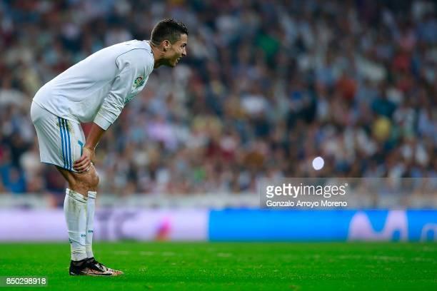 Cristiano Ronaldo of Real Madrid CF reacts during the La Liga match between Real Madrid CF and Real Betis Balompie at Estadio Santiago Bernabeu on...