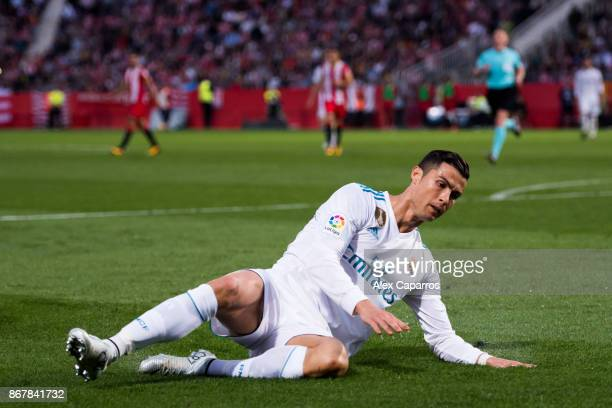 Cristiano Ronaldo of Real Madrid CF reacts during the La Liga match between Girona and Real Madrid at Estadi de Montilivi on October 29 2017 in...