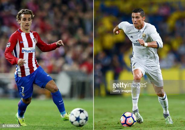 COMPOSITE OF TWO IMAGES Image numbers 653727596 and 610290284 In this composite image a comparision has been made between Antoine Griezmann of...
