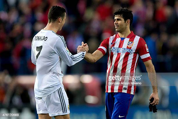 Cristiano Ronaldo of Real Madrid CF shake hands with Diego Costa of Atletico de Madrid after the La Liga match between Club Atletico de Madrid and...