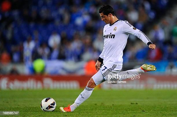 Cristiano Ronaldo of Real Madrid CF shoots towards goal during the La Liga match between RCD Espanyol and Real Madrid CF at CornellaEl Prat Stadium...