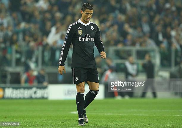 Cristiano Ronaldo of Real Madrid CF shows his dejection during the UEFA Champions League semi final match between Juventus and Real Madrid CF at...
