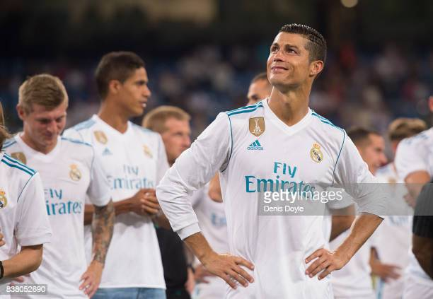 Cristiano Ronaldo of Real Madrid CF smiles after his team won the Santiago Bernabeu Trophy match 21 between Real Madrid CF and ACF Fiorentina at...