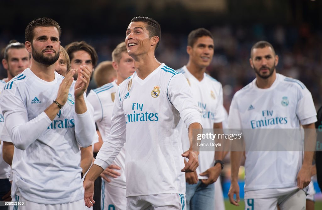 Cristiano Ronaldo of Real Madrid CF smiles after his team won the Santiago Bernabeu Trophy match 2-1 between Real Madrid CF and ACF Fiorentina at Estadio Santiago Bernabeu on August 23, 2017 in Madrid, Spain.