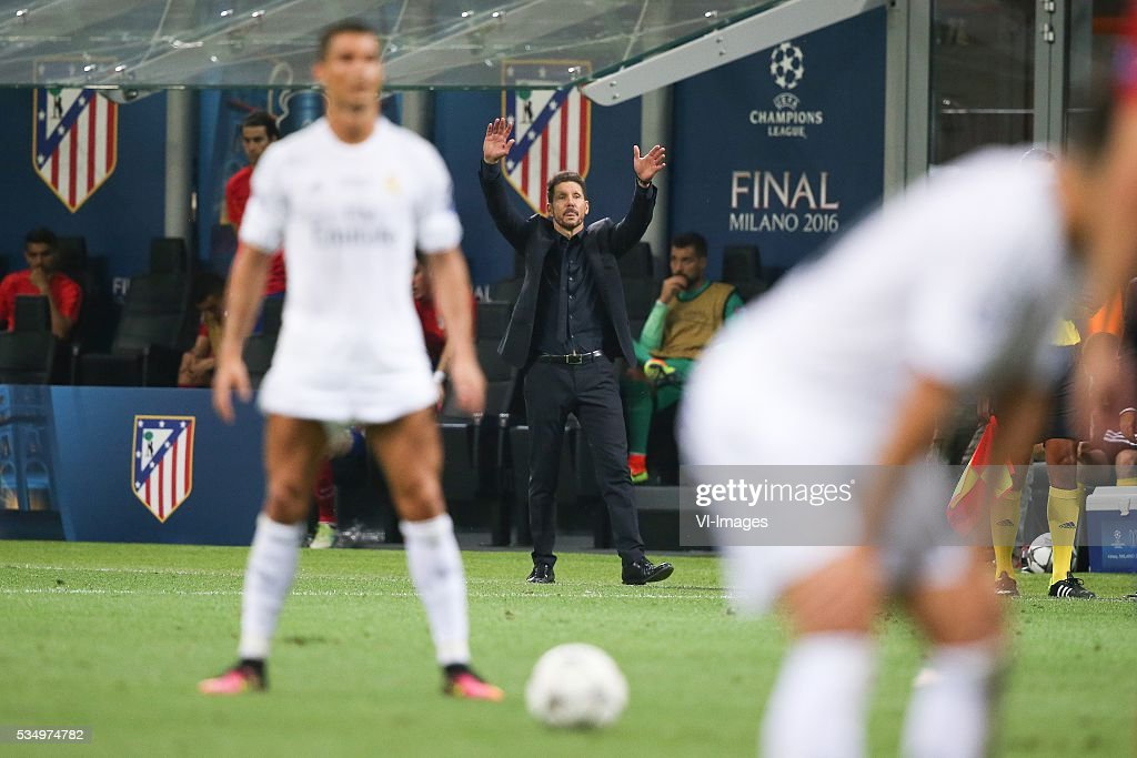 Cristiano Ronaldo of Real Madrid, coach Diego Simeone of Club Atletico de Madrid during the UEFA Champions League final match between Real Madrid and Atletico Madrid on May 28, 2016 at the Giuseppe Meazza San Siro stadium in Milan, Italy.