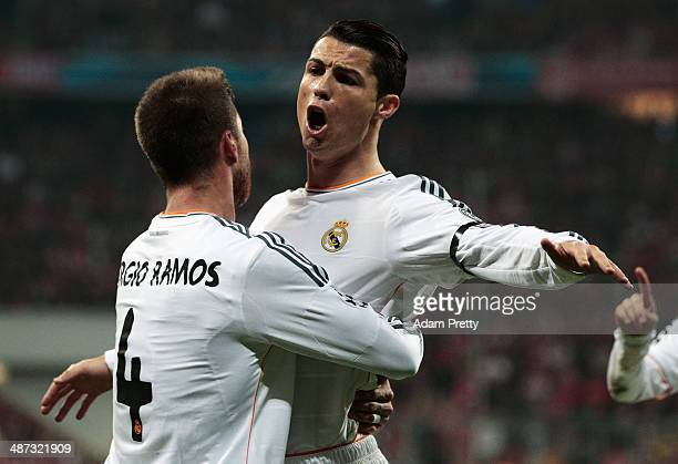 Cristiano Ronaldo of Real Madrid congratulates goalscorer Sergio Ramos of Real Madrid during the UEFA Champions League semifinal second leg match...