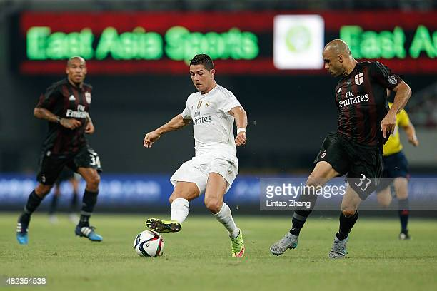 Cristiano Ronaldo of Real Madrid contests the ball against Alex Rodrigo Dias Da Costa of AC Milan during the International Champions Cup match...