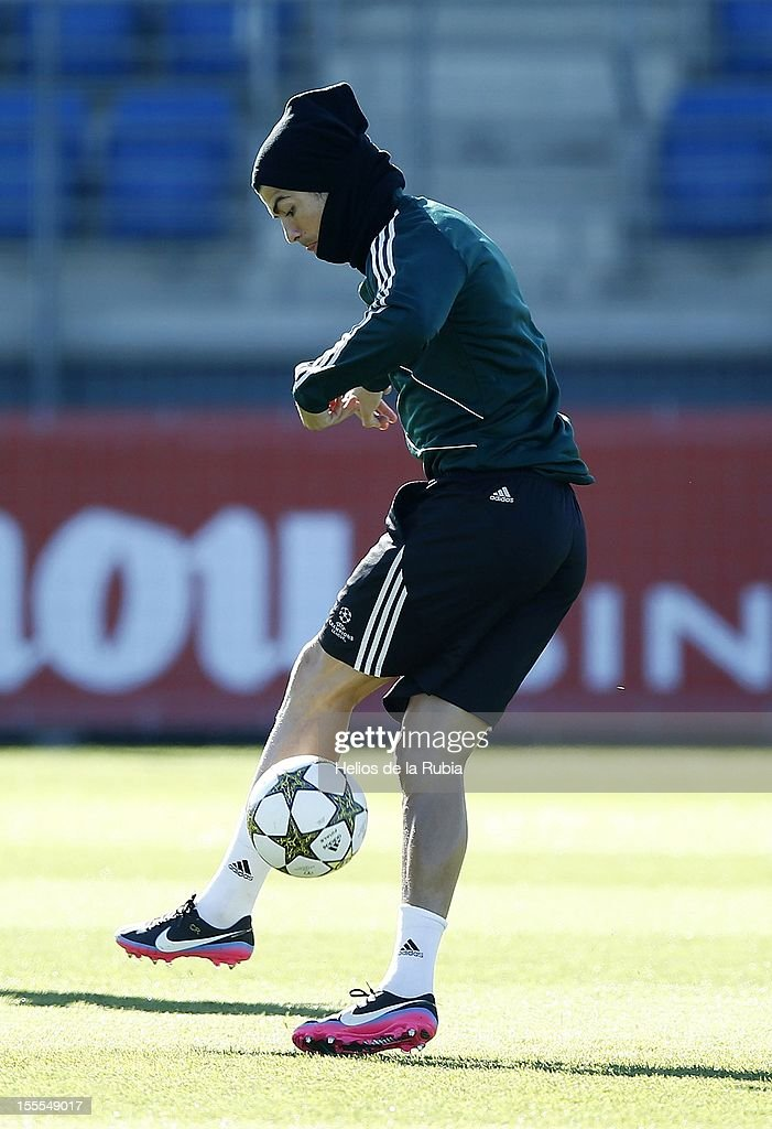 Cristiano Ronaldo of Real Madrid controls a ball during a training session ahead of their UEFA Champions League group stage match against Borussia Dortmund at Valdebebas training ground on November 5, 2012 in Madrid, Spain.