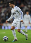Cristiano Ronaldo of Real Madrid controls the ball during the semifinal Copa del Rey second leg match between Real Madrid and Sevilla at Estadio...