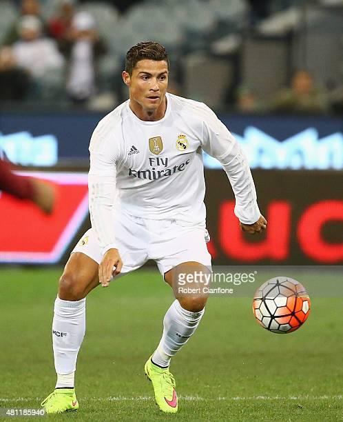 Cristiano Ronaldo of Real Madrid controls the ball during the International Champions Cup friendly match between Real Madrid and AS Roma at the...