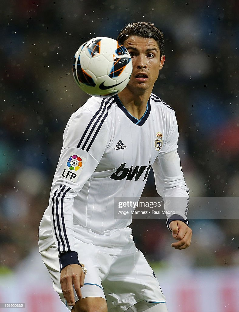 <a gi-track='captionPersonalityLinkClicked' href=/galleries/search?phrase=Cristiano+Ronaldo+-+Soccer+Player&family=editorial&specificpeople=162689 ng-click='$event.stopPropagation()'>Cristiano Ronaldo</a> of Real Madrid controls the ball during the La Liga match between Real Madrid and Rayo Vallecano at Estadio Santiago Bernabeu on February 17, 2013 in Madrid, Spain.