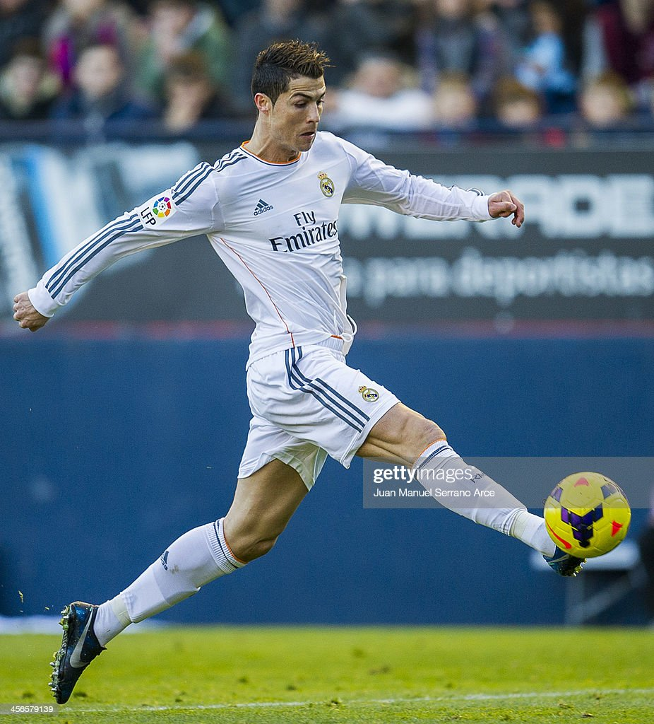 Cristiano Ronaldo of Real Madrid controls the ball during the La Liga match between CA Osasuna and Real Madrid CF at Estadio Reyno de Navarra on December 14, 2013 in Pamplona, Spain.