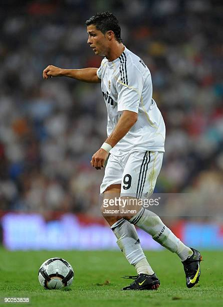 Cristiano Ronaldo of Real Madrid controls the ball during the La Liga match between Real Madrid and Deportivo La Coruna at the Estadio Santiago...