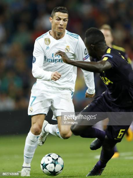 Cristiano Ronaldo of Real Madrid Davinson Sanchez of Tottenham Hotspur FC during the UEFA Champions League group H match between Real Madrid and...
