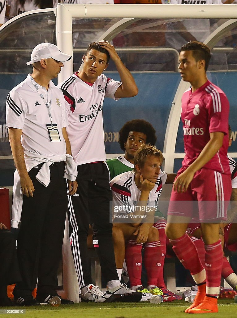 <a gi-track='captionPersonalityLinkClicked' href=/galleries/search?phrase=Cristiano+Ronaldo+-+Soccer+Player&family=editorial&specificpeople=162689 ng-click='$event.stopPropagation()'>Cristiano Ronaldo</a> of Real Madrid during a Guinness International Champions Cup 2014 game at Cotton Bowl on July 29, 2014 in Dallas, Texas.