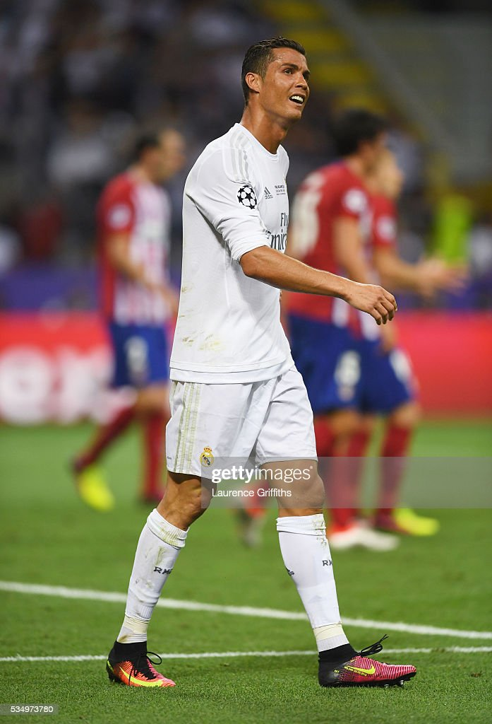 <a gi-track='captionPersonalityLinkClicked' href=/galleries/search?phrase=Cristiano+Ronaldo+-+Soccer+Player&family=editorial&specificpeople=162689 ng-click='$event.stopPropagation()'>Cristiano Ronaldo</a> of Real Madrid during the UEFA Champions League Final match between Real Madrid and Club Atletico de Madrid at Stadio Giuseppe Meazza on May 28, 2016 in Milan, Italy.