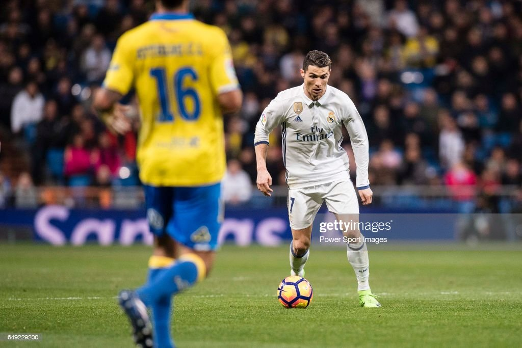 Cristiano Ronaldo of Real Madrid (R) during their La Liga match between Real Madrid vs Las Palmas at the Santiago Bernabeu Stadium on 01 March 2017 in Madrid, Spain.