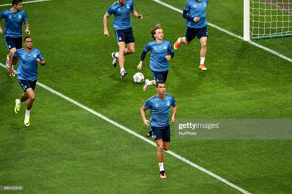 <a gi-track='captionPersonalityLinkClicked' href=/galleries/search?phrase=Cristiano+Ronaldo+-+Soccer+Player&family=editorial&specificpeople=162689 ng-click='$event.stopPropagation()'>Cristiano Ronaldo</a> of Real Madrid during training session ahead the UEFA Champions League Final between Real Madrid and Atletico Madrid Atletico Madrid at Stadio San Siro, Milan, Italy on 27 May 2016