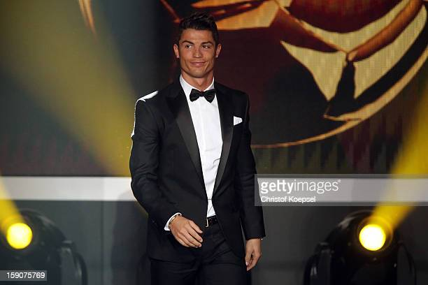 Cristiano Ronaldo of Real Madrid enters the stage during the FIFA Ballon d'Or Gala 2013 at Congress House on January 07 2013 in Zurich Switzerland