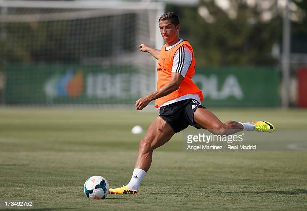 Cristiano Ronaldo of Real Madrid exercises during a training session at Valdebebas training ground on July 15 2013 in Madrid Spain