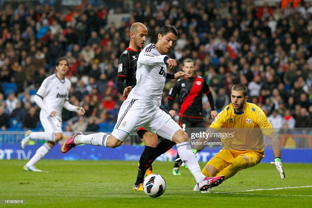 Cristiano Ronaldo of Real Madrid fails to score during the La Liga match between Real Madrid and Rayo Vallecano at Estadio Santiago Bernabeu on February 17, 2013 in Madrid, Spain.