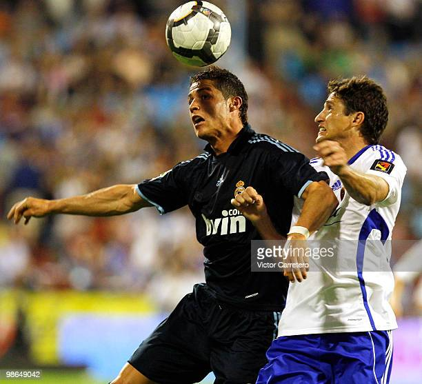 Cristiano Ronaldo of Real Madrid fights for the ball during the La Liga match between Zargoza and Real Madrid at La Romareda on April 24 2010 in...