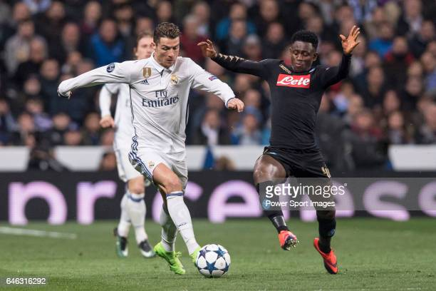Cristiano Ronaldo of Real Madrid fights for the ball with Amadou Diawara of SSC Napoli during the match Real Madrid vs Napoli part of the 201617 UEFA...