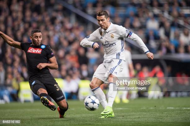 Cristiano Ronaldo of Real Madrid fights for the ball with Faouzi Ghoulam of SSC Napoli during the match Real Madrid vs Napoli part of the 201617 UEFA...