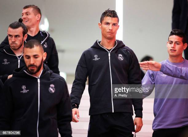 Cristiano Ronaldo of Real Madrid Gareth Bale James Rodriguez and Karim Benzema before the UEFA Champions League Quarter Final first leg match between...