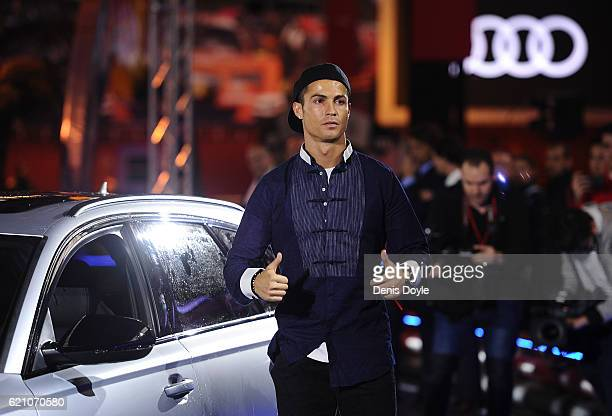 Cristiano Ronaldo of Real Madrid gestires after getting his Audi RS Quattro car for the 2016/2017 season at Carlos Sainz Center on November 4 2016 in...