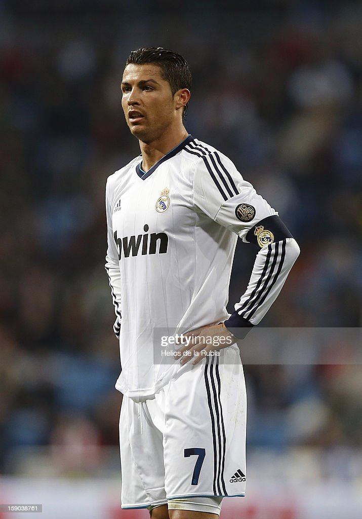 <a gi-track='captionPersonalityLinkClicked' href=/galleries/search?phrase=Cristiano+Ronaldo&family=editorial&specificpeople=162689 ng-click='$event.stopPropagation()'>Cristiano Ronaldo</a> of Real Madrid gestures during the La Liga match between Real Madrid and Real Sociedad at Estadio Santiago Bernabeu on January 6, 2013 in Madrid, Spain.