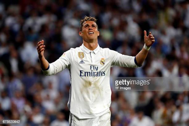 Cristiano Ronaldo of Real Madrid gestures during the La Liga match between Real Madrid CF and FC Barcelona at the Santiago Bernabeu stadium on April...