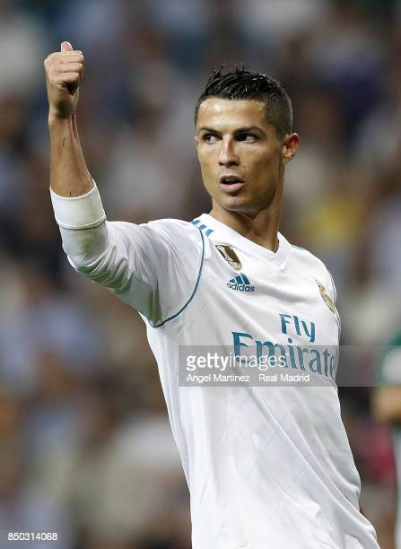 Cristiano Ronaldo of Real Madrid gestures during the La Liga match between Real Madrid and Real Betis at Estadio Santiago Bernabeu on September 20...
