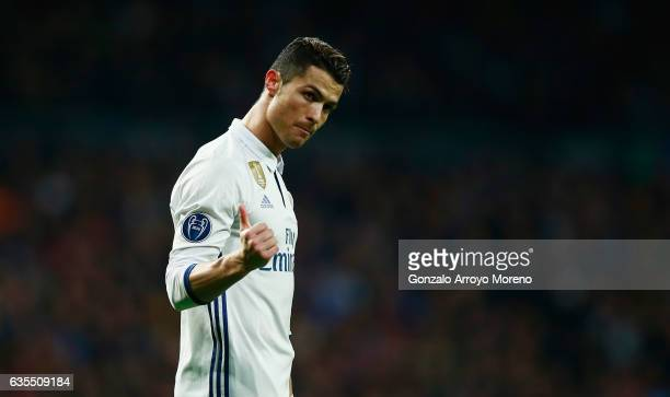 Cristiano Ronaldo of Real Madrid gestures during the UEFA Champions League Round of 16 first leg match between Real Madrid CF and SSC Napoli at...
