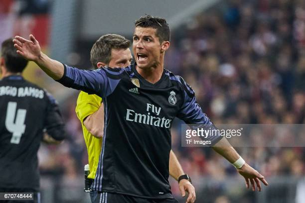 Cristiano Ronaldo of Real Madrid gestures during the UEFA Champions League Quarter Final first leg match between FC Bayern Muenchen and Real Madrid...