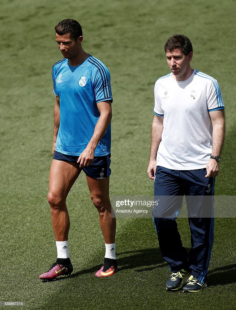 Cristiano Ronaldo (L) of Real Madrid gets injured during training session ahead of UEFA Champions League final football match between Atletico Madrid and Real Madrid CF in Madrid, Spain on May 24, 2016.