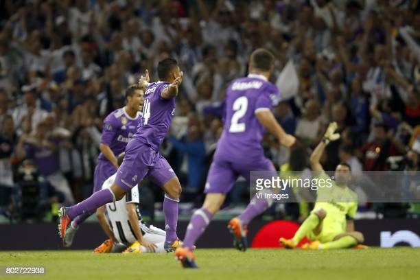Cristiano Ronaldo of Real Madrid Giorgio Chiellini of Juventus FC Daniel Carvajal of Real Madrid goalkeeper Gianluigi Buffon of Juventus FCduring the...
