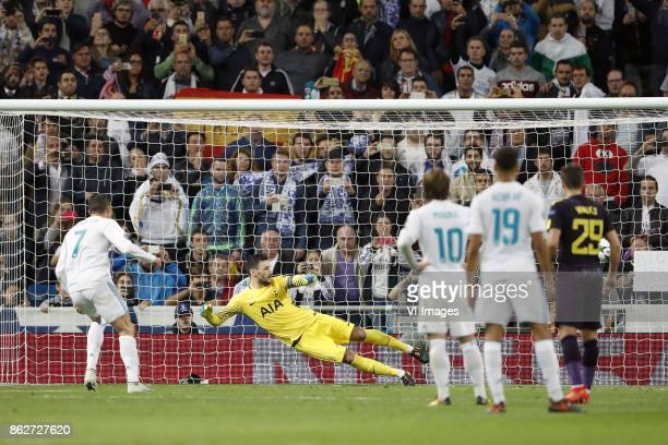 Cristiano Ronaldo of Real Madrid goalkeeper Hugo Lloris of Tottenham Hotspur FC Luka Modric of Real Madrid Achraf Hakimi of Real Madrid Harry Winks...