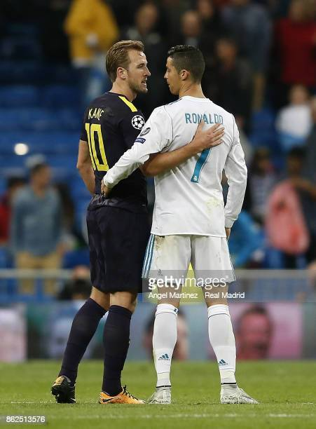 Cristiano Ronaldo of Real Madrid greets Harry Kane of Tottenham Hotspur after the UEFA Champions League group H match between Real Madrid CF and...