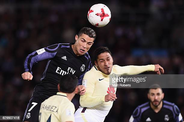 Cristiano Ronaldo of Real Madrid heads the ball towards the goal during the FIFA Club World Cup Japan semifinal match between Club America v Real...