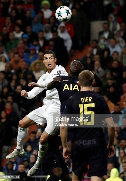 Cristiano Ronaldo of Real Madrid in action against Davinson Sanchez of Tottenham during the UEFA Champions League Group H match between Real Madrid...